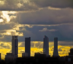 Clouds and the four towers at dusk (Bonsailara1) Tags: madrid espaa clouds spain dusk nubes nwn crepsculos cuatrotorres bonsailara1