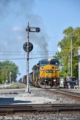 Csx 7342 Drags a freight through Deshler Ohio. (Machme92) Tags: railroad ohio sky clouds america nikon rail row american rails railfan freight railroads csx conrail railroading railfanning deshler csxt dash9 railfans nikond7200