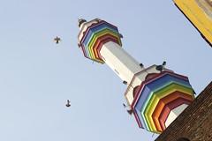 Rainbow on the mosque (Nasir Khan Saikat) Tags: street urban bird birds rainbow minaret streetphotography mosque dhaka minar purandhaka