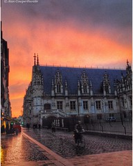 Red sky at night...,,,,, (alcowp) Tags: sky france rain weather architecture clouds ciel rouen fr ipodtouch seinemaritimeuppernormandy