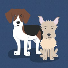 Ivy and Murf (abbey*christine) Tags: dogs illustration mutt ivy vector murphy scruffy foxhound murf rescuedogs