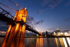 Roebling Bridge (KrisVlad) Tags: bridge ohio skyline contrast colorful cityscape angle suspension cincinnati wide roebling