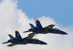 Numbers 1 & 2 (Piedmont Fossil) Tags: airplane team aircraft flight navy jet maryland airshow demonstration hornet annapolis f18 blueangels fa18 2016 commissioningweek