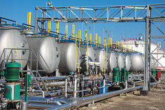 gas tanks  for petrochemical plant (otoxunghe) Tags: sky plant industry station energy industrial factory technology tank power natural steel serbia pipe storage gas equipment processing oil production petrol gasoline refinery pipeline fuel chemical petroleum petrochemical