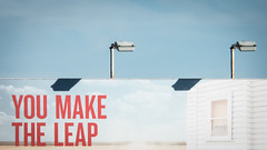 You make the leap (Theen ...) Tags: adelaide advertising afternoon billboard blue floodlights hilton late lumix red shadows sky southroad theen winter youmaketheleap