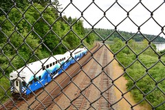 Fence Friday! (Reed 1949) Tags: bridge trees train fence nikon shoreline washingtonstate railroadtracks passengercars tamron18270mm fencefriday nikond5200 pugeetsound richmondbeachstatepark
