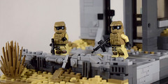 Devastation (Ground) (Dyroth) Tags: soldier us war desert lego military tan battle scene palmtree guns explosions vignette epic diorama minifigure purge michaelbay darktan brickarms legoguns thepurge legomilitary legobrickarms customguns customlegoguns legowar bigexplosions minifigcat