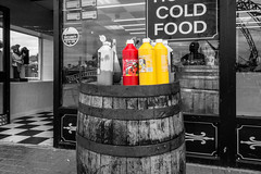 Sauce anyone? (tabulator_1) Tags: fastfood southport sauces coloursplash pleasureland splashesofcolor
