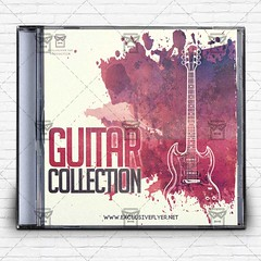 Guitar Collection  Premium Mixtape Album CD Cover Template (ExclusiveFlyer) Tags: music rock print artwork guitar folk album cd grunge country pop minimal cover indie acoustic simple worldmusic audio samples minimalistic template instrumental textured unplugged