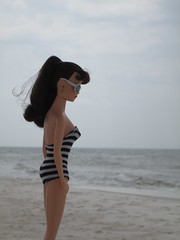Beach day (Wandy in Pensacola) Tags: beach doll florida barbie playa pop suit zebra boneca pensacola puppe mueca bambola docka gulfislandsnationalseashore repro perdidokey 35anniversary trusa poupe specialeditionreproduction