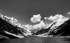 Lake Siaf-ul-Malook (Black and White) (M.S.J Photography) Tags: blackandwhite lake mountains water clouds hills msjphotography