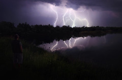 Stormy night II (Psztor Andrs) Tags: blue trees light lake storm reflection green reed nature water grass night clouds photography pond nikon hungary shadows power angle flash wide lightning dslr thunder 18mm andras pasztor d5100