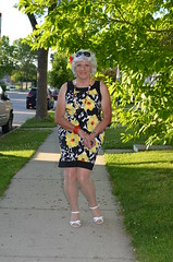 Strolling (Laurette Victoria) Tags: woman pose dress sidewalk milwaukee laurette