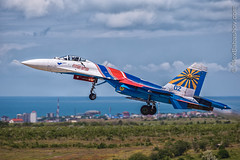 Sukhoi Su-27 Russian Knights during the Aviadarts-2016 flight skills competition in BELBEK AIRFIELD at Sevastopol, Crimea (The best from aviation) Tags: airfield aviadarts belbek knights russian russianknights sevastopol su27 sukhoi aerobatic air aircraft airjet airplane anniversary avia canon celebrate jet plane planes planespotting spotting su27p team crimea russia rus anawesomeshot travel