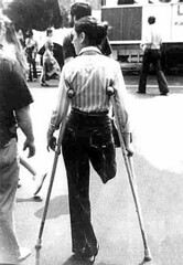 bw_09 SAK with nicely modified trousers (jackcast2015) Tags: handicapped disabled disabledwoman cripledwoman onelegwoman oneleggedwoman monopede amputee legamputee crutches