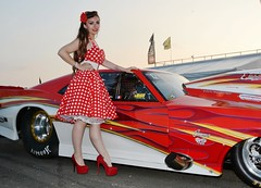 Holly_4632 (Fast an' Bulbous) Tags: chevrolet camaro promod car drag race strip track santa pod girl woman hot sexy polkadot dress high heels stilettos stockings chick babe people outdoor long hair