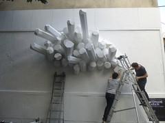 Stphane Parain au M.U.R. XI : travail en cours (25 juin 2016) (Archi & Philou) Tags: sculpture streetart workinprogress wip ladder chelle paris11 travailencours murxi