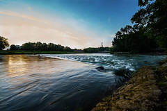 Sunset at Isar River II (Vladi Stoimenov) Tags: summer sky germany munich landscape year tripod wideangle flaucher zoomlens 2016 d610 unclouded bavariabayern lightroom6 isarriverisarisarkanal