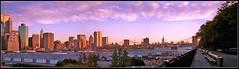 Manhattan panorama, New York City 90's (cobravictor) Tags: midtownmanhattan lowermanhattan manhattanskyline wtc empirestatebuilding brooklynbridge panorama