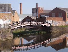 Reflective (lcfcian1) Tags: old bridge chimney urban sun reflection water buildings walk leicester reflected reflective factories 2013 leicestercitycentre
