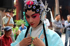 That moment (EiaOlaf) Tags: china blue red people flower look female hair concentration costume eyes theater play dress blu stage traditional chinese performance young may makeup jewelry before lips actress perform azzurro prepare jewel openair kunqu role astonishing concubine 2013 xinchang