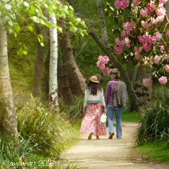 Springtime in England (Lemon~art) Tags: park pink trees england people path springtime