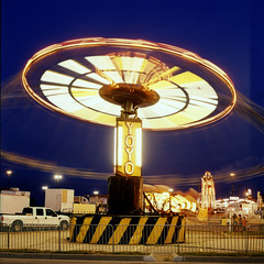 yoyo (Turbobuddha) Tags: carnival film amusement ride cross hasselblad velvia velvia100 processed carny hassy