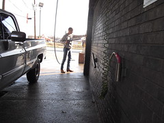 Washing the truck (MrFloodedSilverado) Tags: man cowboy boots butt jeans chevy tight trim silverado levis 505