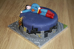 Superman Birthday cake (Liz Simmons) Tags: road birthday city sky cake skyline night children fire fly flying cityscape child chocolate character 4th superman figure superhero cape metropolis iced caketopper emergency fourth fondant buttercream chocolatebuttercream
