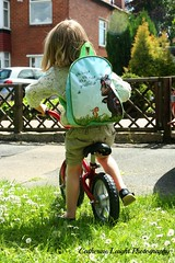 Off to Nursery (Catherine Laight) Tags: bag nursery photoaday canon350d deacon 2013 thegruffalo balancebike