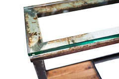 "Glass Top Console Table with Wood Shelves - Detail 1 (SOLD) • <a style=""font-size:0.8em;"" href=""http://www.flickr.com/photos/80301931@N08/9149764198/"" target=""_blank"">View on Flickr</a>"