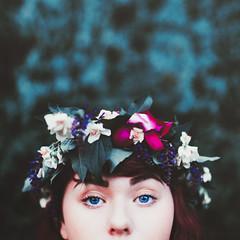 The Gardener (Megan Wilson Photography) Tags: pink blue summer portrait flower green self garden square eyes friend crown meganwilsonphotography