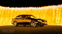 FIREWALL! (jasoncstarr) Tags: longexposure lightpainting cars canon liberty fire flames sigma subaru gt legacy firewall subarulegacy 30mmf14 wallofflames canoneos60d subarulibertygtspecb
