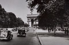 1940s World War II snapshot photo of traffic on the Champs-lyses near the historic monument of the Arc de Triomphe de l'toile in Paris, France. (thstrand) Tags: city people urban paris france streets history cars car architecture mall walking french champselysees europe european traffic wwii snapshot arcdetriomphedeletoile cities landmarks pedestrian landmark streetscene worldwarii 1940s transportation pedestrians snapshots triumphalarch autos dailylife 20thcentury rue 1945 neoclassicism automobiles parisian neoclassical secondworldwar worldwartwo parisienne champslyses rightbank motorvehicles urbanscene placecharlesdegaulle scenicviews historicphoto avenuedeschampslyses paysdefrance rgionparisienne historicalphotograph touristdestination nationalcapitol metropolitanarea worldwar2era builtstructure jeanchalgrin neoclassicalstyle parisis famousmonument arcdetriomphedeltoile builtstructures iledefranceregion jeannicolashuyot ledefranceregion historicsitestructures hricartdethury parisaireurbaine