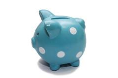 豚の青い貯金箱