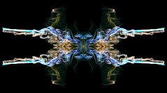 Kaleidoscope 5 (steve_d_000) Tags: tribal kaleidoscope emblem insignia abstract pattern geometry modern organic psychedelic fractal figure curves swirls curls reflection incense stick smoke still life curl surface swirl navy blue golden night dream