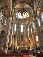 City of Barcelona, Spain (kyweb) Tags: barcelona church window abbey architecture facade spain europe catholic arch exterior cathedral interior basilica religion gothic chapel stainedglass catalonia altar christianity oldtown  pipeorgan  laribera santamariadelmar