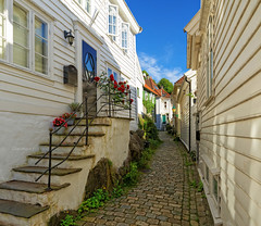 Summer | Bergen | Norway (Charn High ISO Low IQ) Tags: homes summer panorama norway quiet afternoon backalley bergen lovely scandinavia tranquil hugin dxoopticspro travelphotograph nikefexpro canon6d