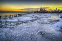 Surreal Chicago arctic ice sheet (olsonj) Tags: snow chicago ice skyline illinois lakemichigan fullerton fullertonbeach chiberia polarvortex