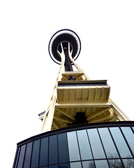 Space Needle from Below (NDSUG0GR33N) Tags: ocean seattle park blue trees winter white man reflection building green cars water glass beautiful car yellow skyline skyscraper buildings reflections wonderful season observation lights washington high amazing construction downtown day view skyscrapers traffic angle flat state pacific time crane space flag hill elevator wide salt perspective wideangle kerry busy salty needle commute sound wa seahawks noon 12 rise 12th hilltop puget saltwater