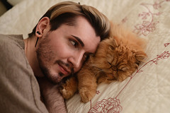 Fare Forward (Mark Liddell) Tags: boy sleeping red portrait people orange pet man black cute male guy smile face animal cat john hair beard amber ginger persian bed model bedroom eyes pretty flat tabby shaved earring handsome style whiskers blonde spike resting grumpy wilfred stubble pedigree smooshed