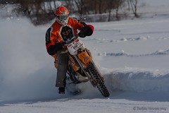 Hang Onto Her! (Darlene348) Tags: winter ice sports track motorbike vision:outdoor=0874 vision:sky=0647
