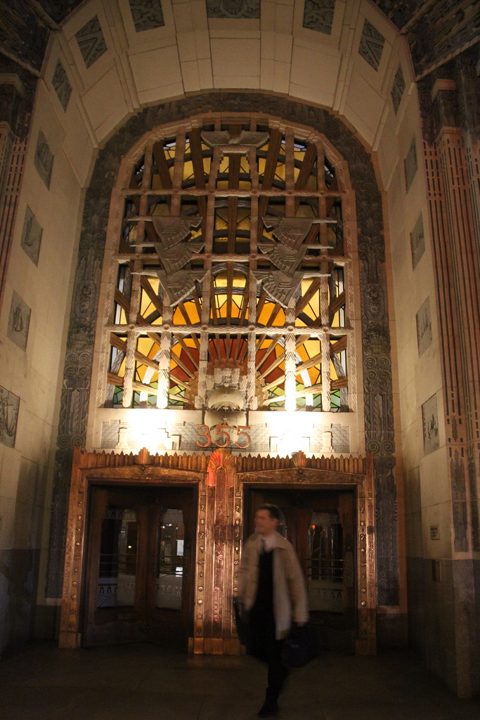 Inside view of the iconic revolving door marine building lobby detail