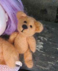 needle felted bear for Blythe