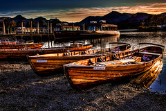 The Rowing Boats Of Derwentwater at Sunset (Steve Rowell Photography 200K+ views. Thank you) Tags: sunset england lake boats district rowing derwentwater
