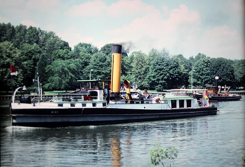 Steam ship on way to Berlin along Canals