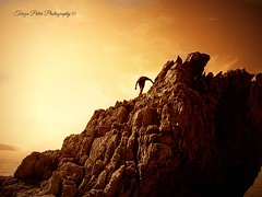 The Man and the rock. (Terezaki ✈) Tags: sunset sea summer vacation sky holiday man nature rock sepia landscape photography gold golden photo searchthebest earth hellas greece grecia zante zakynthos pictureperfect mediterannean goldenlight ionian naturesfinest ncg location4 ionianislands 100faves 150favs 50faves 100favs 180favs anawesomeshot flickrdiamond theperfectphotographer korakonisi natureselegantshots ioniaislands