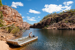 Katherine Gorge (whitworth images) Tags: red people man nature water stone river outdoors person boat rocks tour nt katherine australia tourists cliffs tropical gorge guide northernterritory katherinegorge nitmiluknationalpark