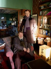 Mark Gatiss & Roger Johnson on the Sherlock studio set, 21 March 2013