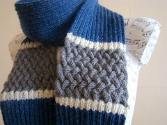 Scarf for my husband (Pure Craft) Tags: blue west love by grey knitting stitch handmade gray knit husband cable stephen knittingpattern gift meadowbrook rib valentineday